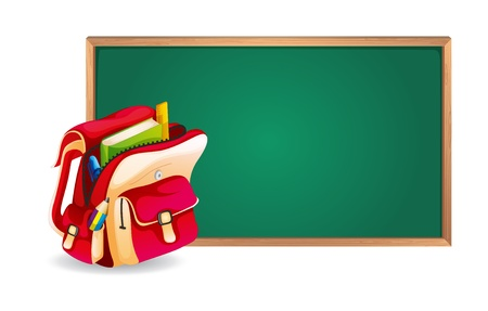 satchel: illustration of a green board and a school bag on a white background
