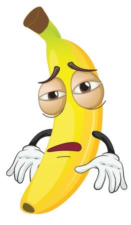 platano caricatura: Ilustración de un plátano en un fondo blanco Vectores