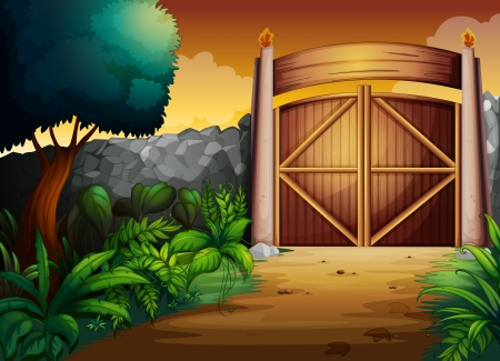 entrance gate: illustration of gate in a beautiful nature