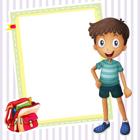 book bag: illustration of a boy, a school bag and a white board