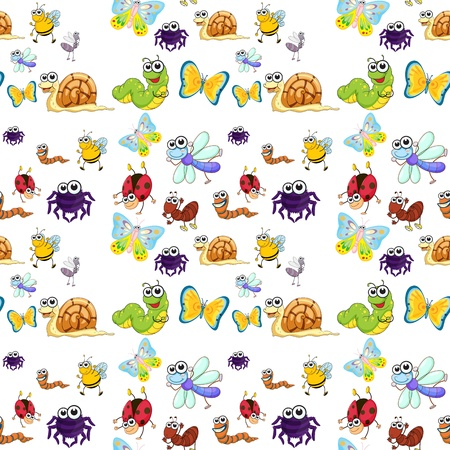 spider cartoon: illustration of  various insects on a white background Illustration