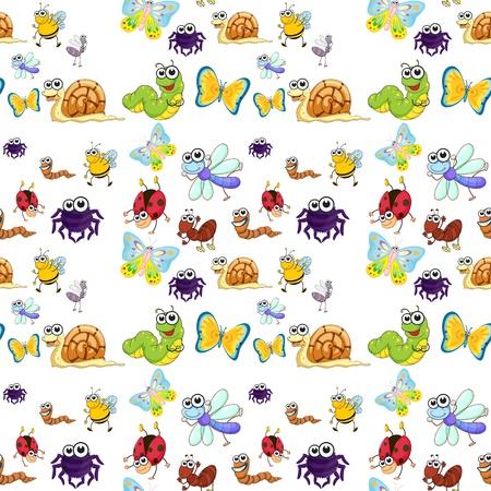bruchi: illustrazione di vari insetti su uno sfondo bianco