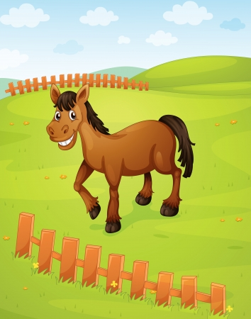 one colour: illustration of a horse in a beautiful nature Illustration