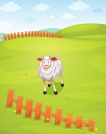 illustration of a sheep in a beautiful nature Stock Vector - 15810343