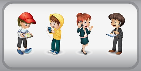 illustration of kids on grey background Vector