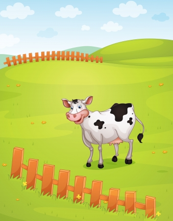 illustration of cow in a beautiful nature Vector