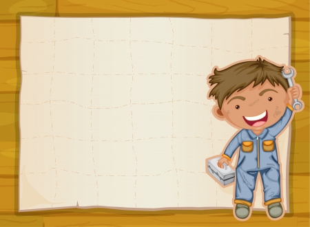 little one: illustration of a boy and a paper sheet on a wooden background Illustration