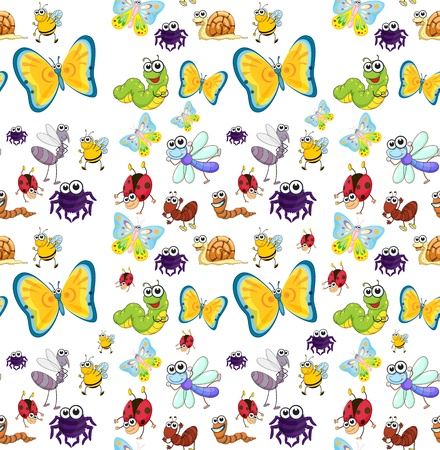 cartoon butterfly: illustration of a various insects on a white background