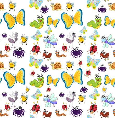 mariposa caricatura: ilustración de un diversos insectos en un fondo blanco
