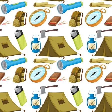 illustration of various camping objects on a white background Stock Vector - 15810473