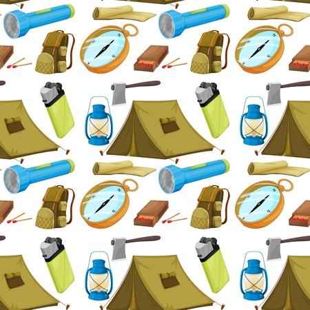 caja de cerillas: Ilustraci�n de los objetos de camping diversas sobre un fondo blanco
