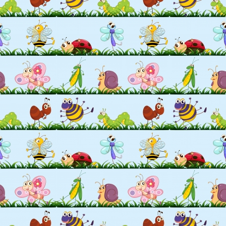 illustration of various insects on a blue background