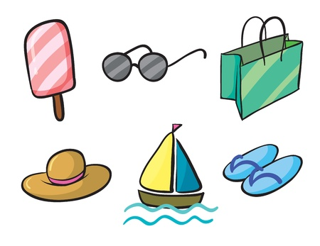 beach bag: illustration of various holiday objects on a white background
