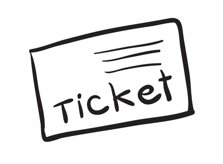 one sheet: illustration of a ticket on a white background