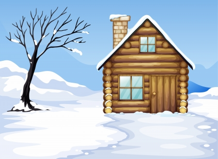 illustration of a landcape and a house in a beautiful nature Vector