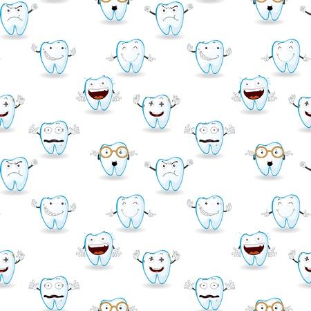 dientes caricatura: Ilustración de tooths sobre un fondo blanco Vectores