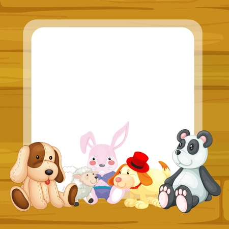 soft toy: illustration of toys and a window on a white backgound Illustration