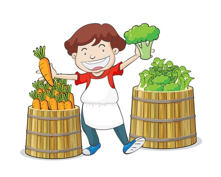 illustration of a boy and vegetables on a white background Vector