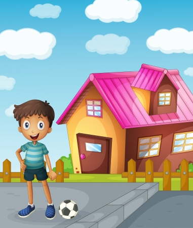 illustration of a boy, a football and a house Vector