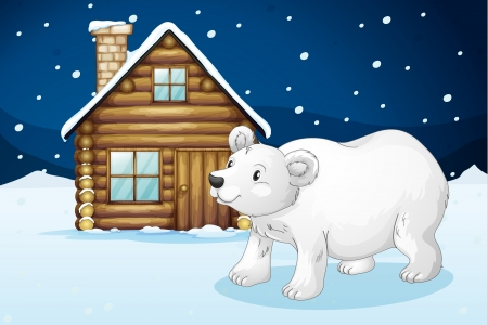illustration of a house and a polar bear in a beautiful nature Stock Vector - 15810474