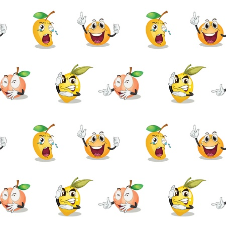 cartoon fruit: illustration of various fruits on a white background Illustration