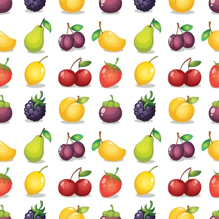 fruit illustration: illustration of various fruits on a white background Illustration