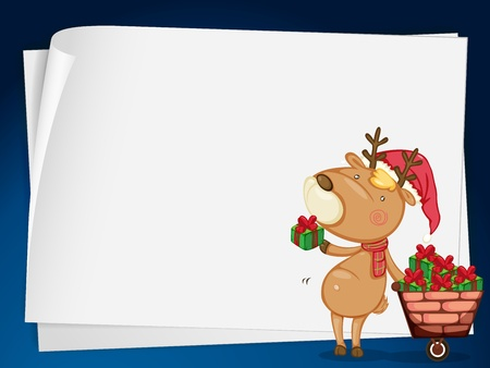 one sheet: illustration of paper sheets and a reindeer