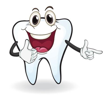 mani cartoon: illustrazione di un dente su uno sfondo bianco