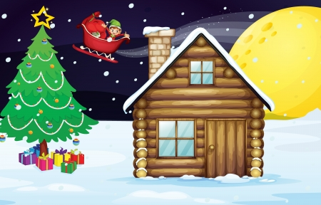 snow cap: illustration of a christmas elve and a house