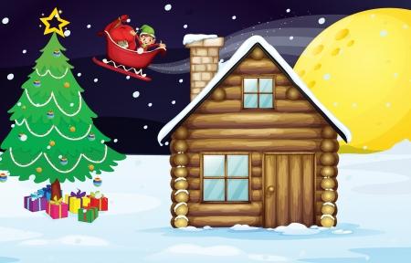 window shade: ilustraci�n de un elve navidad y una casa