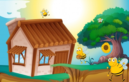 greenary: illustration of a honey bee and a house in a beautiful nature
