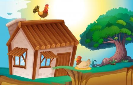rooster at dawn: illustrazione di galline e una casa in una natura bellissima