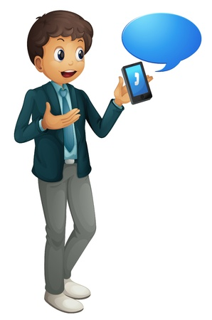 full pant: illustration of a boy and a cell phone on a white background