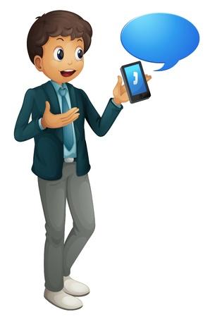 telefono caricatura: ilustraci�n de un ni�o y un tel�fono celular en un fondo blanco