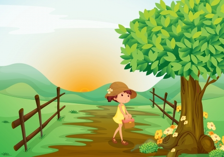 morning walk: illustration of a girl in a beautiful nature Illustration