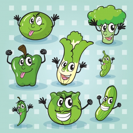 illustration of various vegetables on a blue background Vector