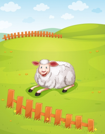 the green: illustration of a sheep in a beautiful nature