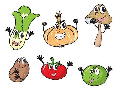 celery: illustration of various vegetables on a white background