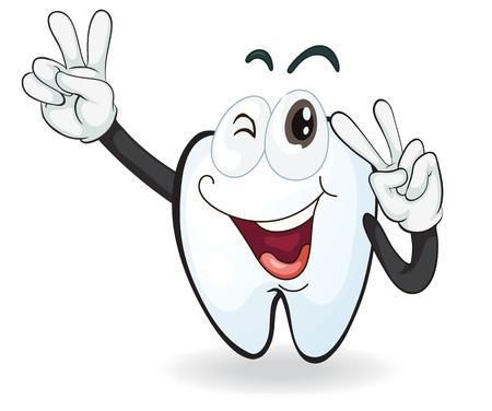 gedetailleerde illustratie van een tand op een witte achtergrond