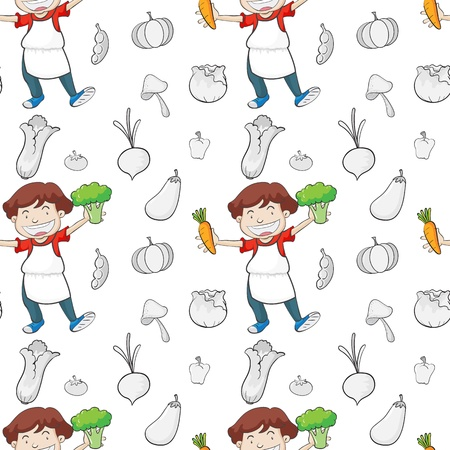 little chef: illustration of boy and various vegetables on a white background