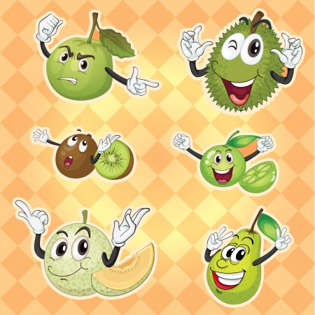 guava: illustration of various fruits on yellow background