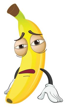 Ilustración de un plátano en un fondo blanco Ilustración de vector