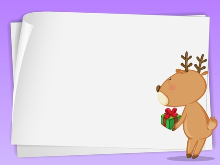 illustration of paper sheets and a reindeer on a red-purple background Vector