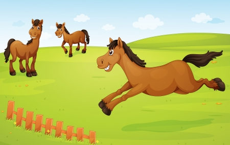 illustration of three horses in a green nature Vector