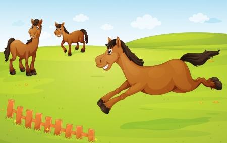 ilustración de tres caballos en una naturaleza verde Vectores
