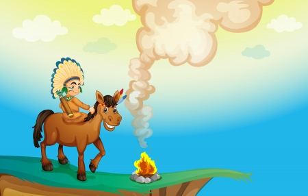 illustration of a boy riding a horse in nature Vector