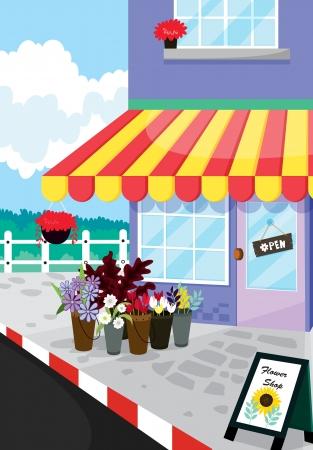 store window: gedetailleerde illustratie van bloemenwinkel oen in een prachtige natuur