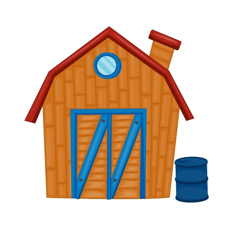 illustration of a wooden house on a white background Stock Vector - 15869508