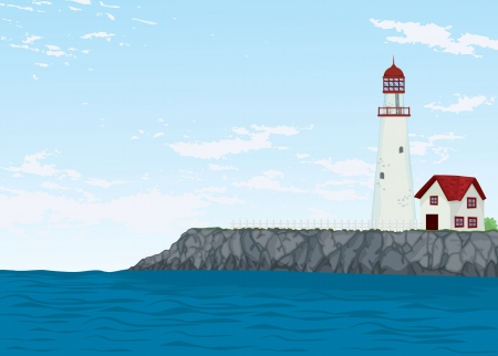 detailed illustration of a light house and sea Vector