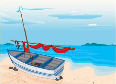 detailed illustration of a sea beach and boat